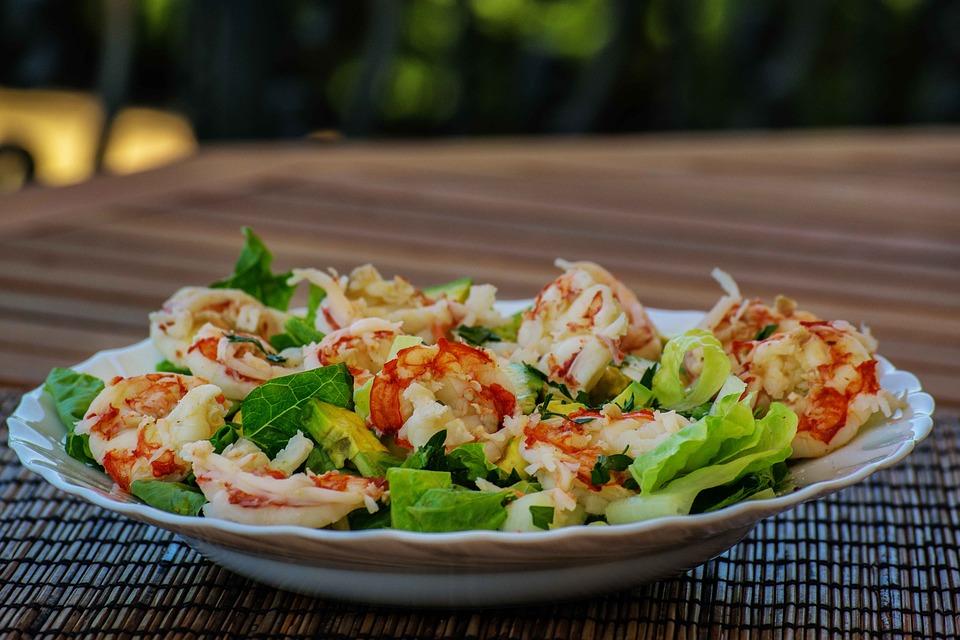 Le dressage pour terminer,salades de crevettes