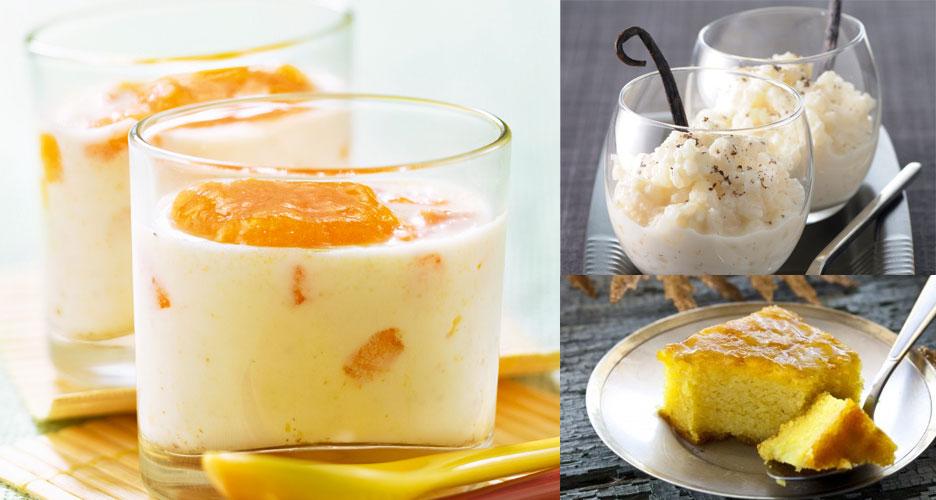 différentes catégories de desserts lactés