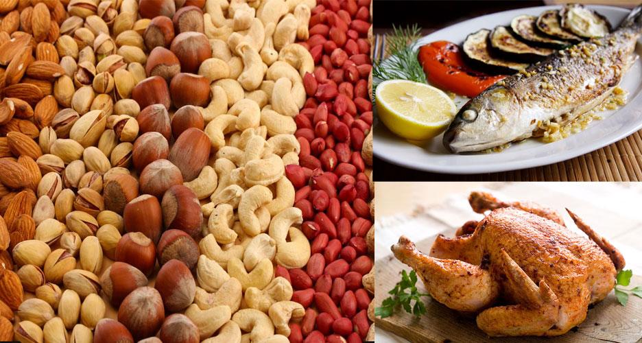 Les poissons, les noix et les poulets